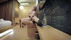 webcam bottle masturbation in black panties socks sexy russian blonde teen