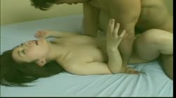 Small asian chick with small tits moans as she is rough fucked on bed
